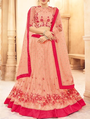 Peach net panelled lehenga
