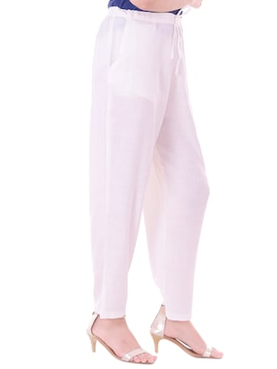 white cotton flat front trouser - 14467227 - Standard Image - 2