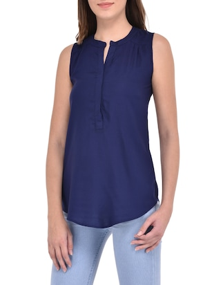 navy blue cotton top - 14467325 - Standard Image - 2