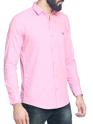 pink cotton blend casual shirt - 14467786 - Standard Image - 2