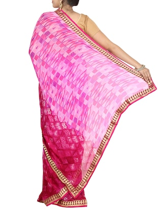 pink georgette printed saree with blouse - 14468057 - Standard Image - 2