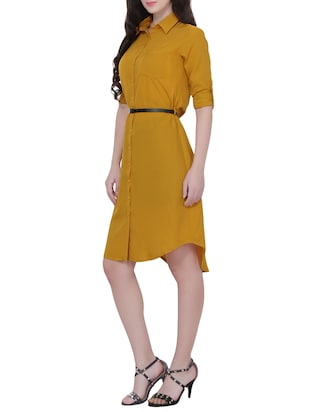 Yellow crepe shirt dress - 14468099 - Standard Image - 2