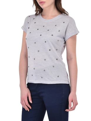 grey poly cotton top - 14468180 - Standard Image - 2