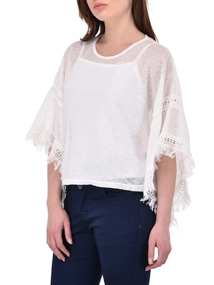 White bell sleeved top - 14468212 - Standard Image - 2