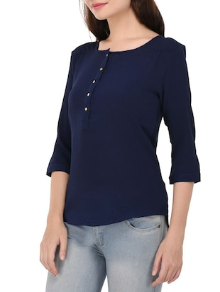 navy blue solid top - 14468245 - Standard Image - 2