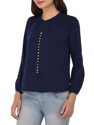 navy blue cotton top - 14468248 - Standard Image - 2