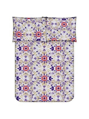 Floral Print Cotton Double Bedsheet with 2 Pillow Covers - 14469078 - Standard Image - 2