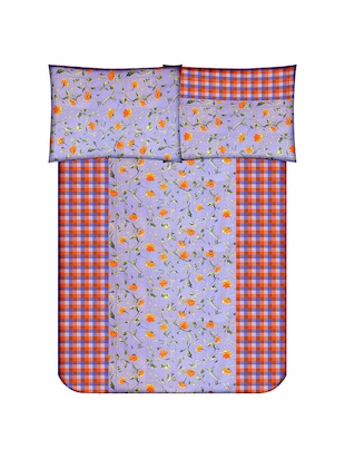 Floral Print Cotton Double Bedsheet with 2 Pillow Covers - 14469091 - Standard Image - 2
