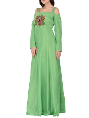 green cotton anarkali kurta - 14469098 - Standard Image - 2