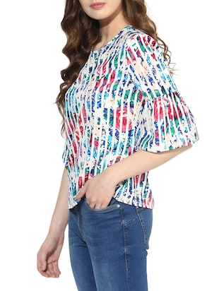 Striped bell sleeved top - 14469151 - Standard Image - 2