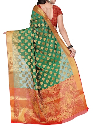 green silk banarasi saree with blouse - 14469400 - Standard Image - 2