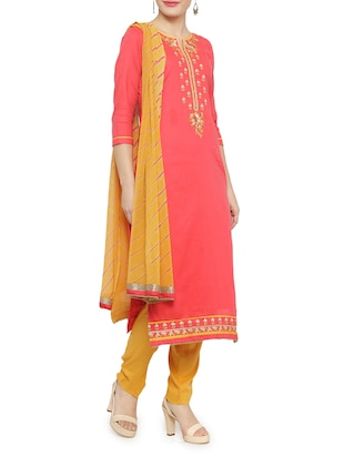 pink cotton straight pant suits unstitched suit - 14469979 - Standard Image - 2
