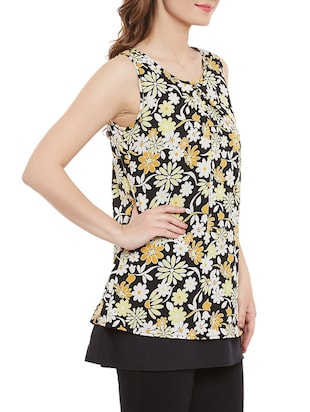Black floral sleeveless top - 14471364 - Standard Image - 2