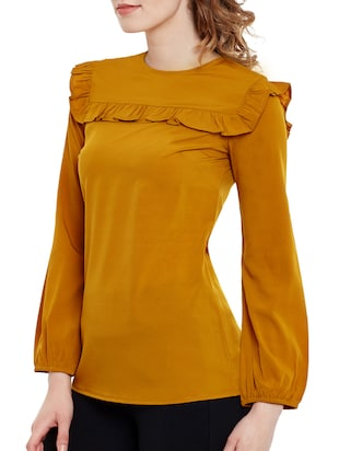Mustard Yellow crepe regular top - 14471374 - Standard Image - 2