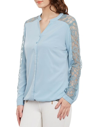 light blue full sleeved top - 14471377 - Standard Image - 2