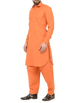 orange cotton pathani set - 14471510 - Standard Image - 2