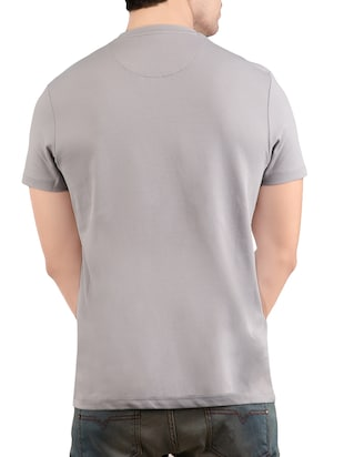 grey cotton chest print t-shirt - 14471937 - Standard Image - 2