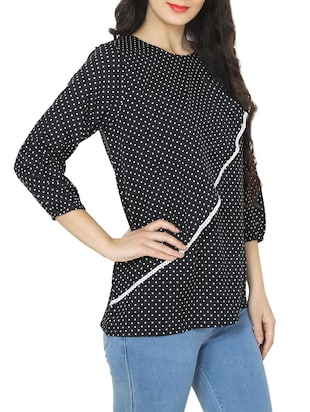 black polka dot printed top - 14472282 - Standard Image - 2