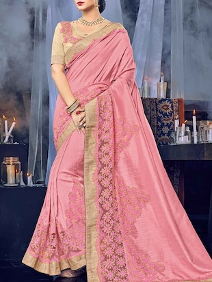 pink silk embroidered saree