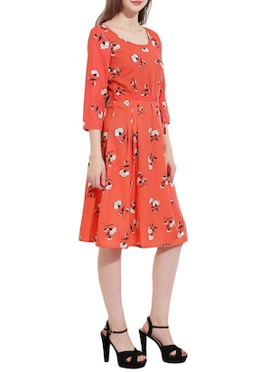 Orange printed a-line dress - 14473031 - Standard Image - 2