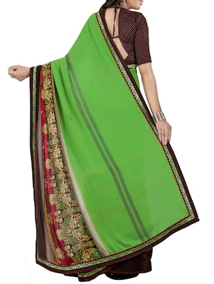 green georgette printed saree with blouse - 14473689 - Standard Image - 2