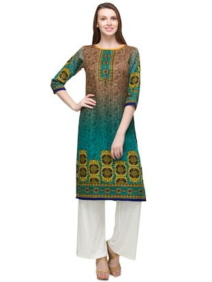 beige and green woolen kurta
