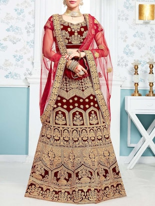red embroidered a-line lehenga