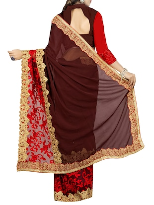 brown georgette embroidered saree with blouse - 14478227 - Standard Image - 2