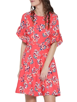 Pink printed A-line dress - 14478373 - Standard Image - 2