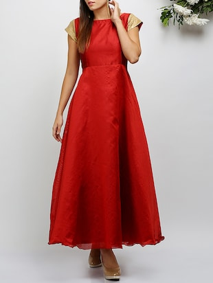 Red dupion gown dress