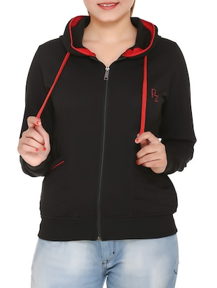 black cotton hooded sweatshirt