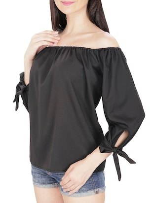 black off shoulder top - 14479526 - Standard Image - 2