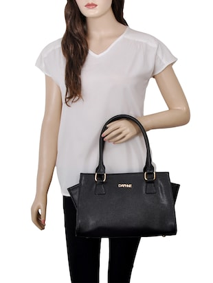 black leatherette  regular handbag - 14479887 - Standard Image - 5