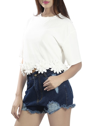 white poly viscose crop top - 14481290 - Standard Image - 2