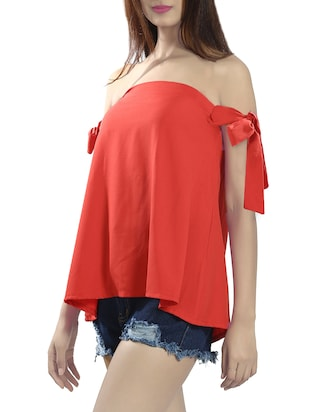 orange georgette a-line top - 14481299 - Standard Image - 2