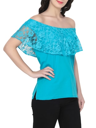 blue off shoulder top - 14481828 - Standard Image - 2