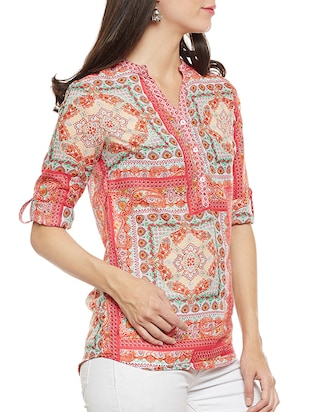Orange printed top - 14481999 - Standard Image - 2