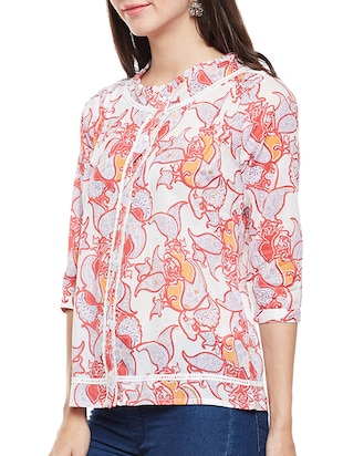 pink printed cotton top - 14482015 - Standard Image - 2