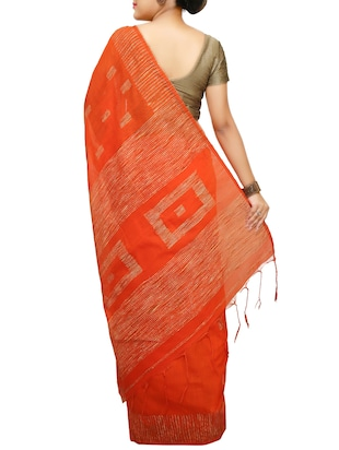Ghicha Border handloom saree with blouse - 14482023 - Standard Image - 2