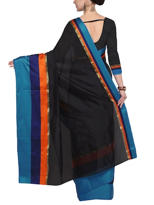 Stripes bordered saree with blouse - 14483370 - Standard Image - 2