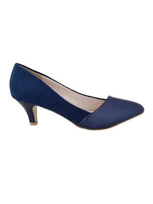navy faux leather slip on pumps - 14484416 - Standard Image - 2