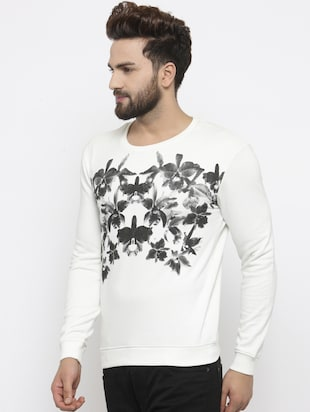 white cotton chest print sweatshirt - 14484828 - Standard Image - 2