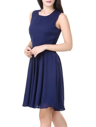 navy blue poly georgette a-line dress - 14485386 - Standard Image - 2