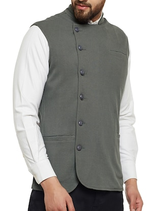 grey cotton nehru jacket - 14485609 - Standard Image - 2
