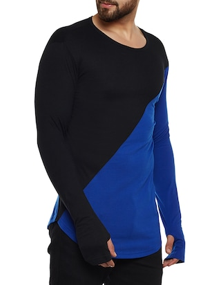 blue and black cotton blend thumb hole  t-shirt - 14485620 - Standard Image - 2