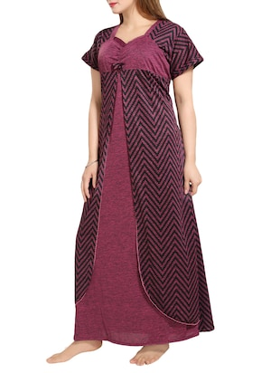 Purple chevron nightwear gown - 14486167 - Standard Image - 2