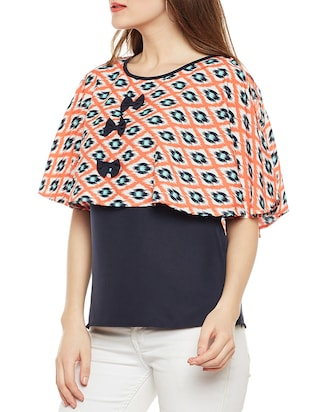 Ikat Bow detail overlay top - 14486473 - Standard Image - 2