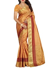 beige woven saree -  online shopping for Sarees