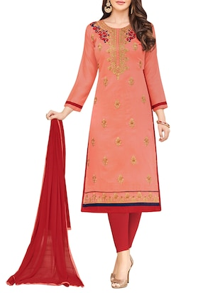 peach semi-stitched churidaar suit