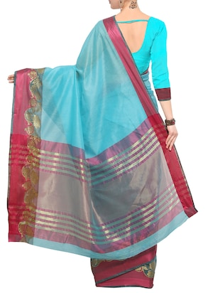 turquoise bordered saree with blouse - 14491857 - Standard Image - 2